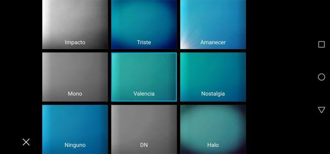 Honor View20 Opciones de cámara filtros colores