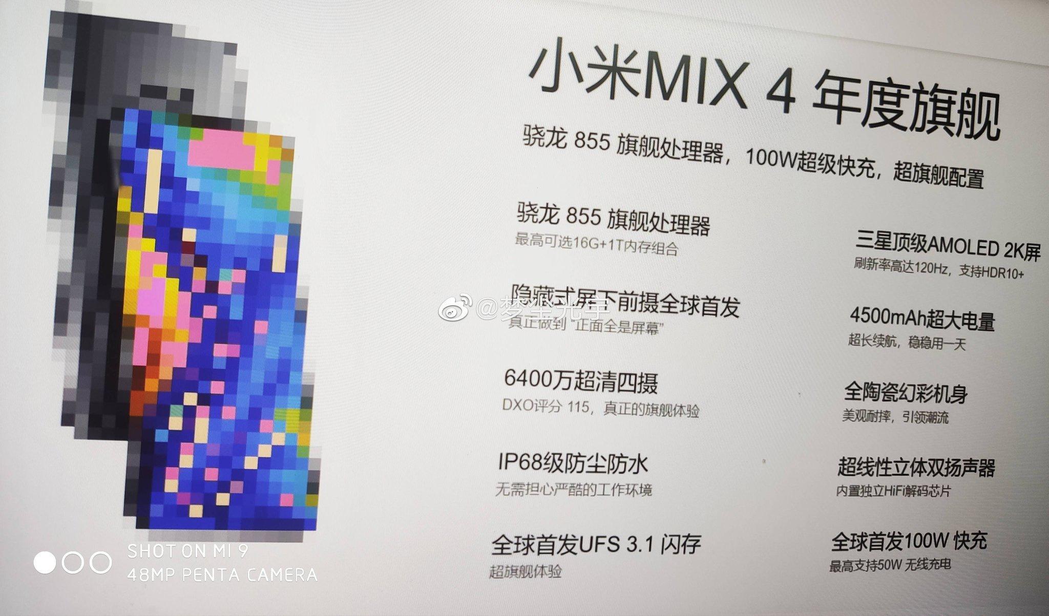 Posibles características del Xiaomi Mi Mix 4