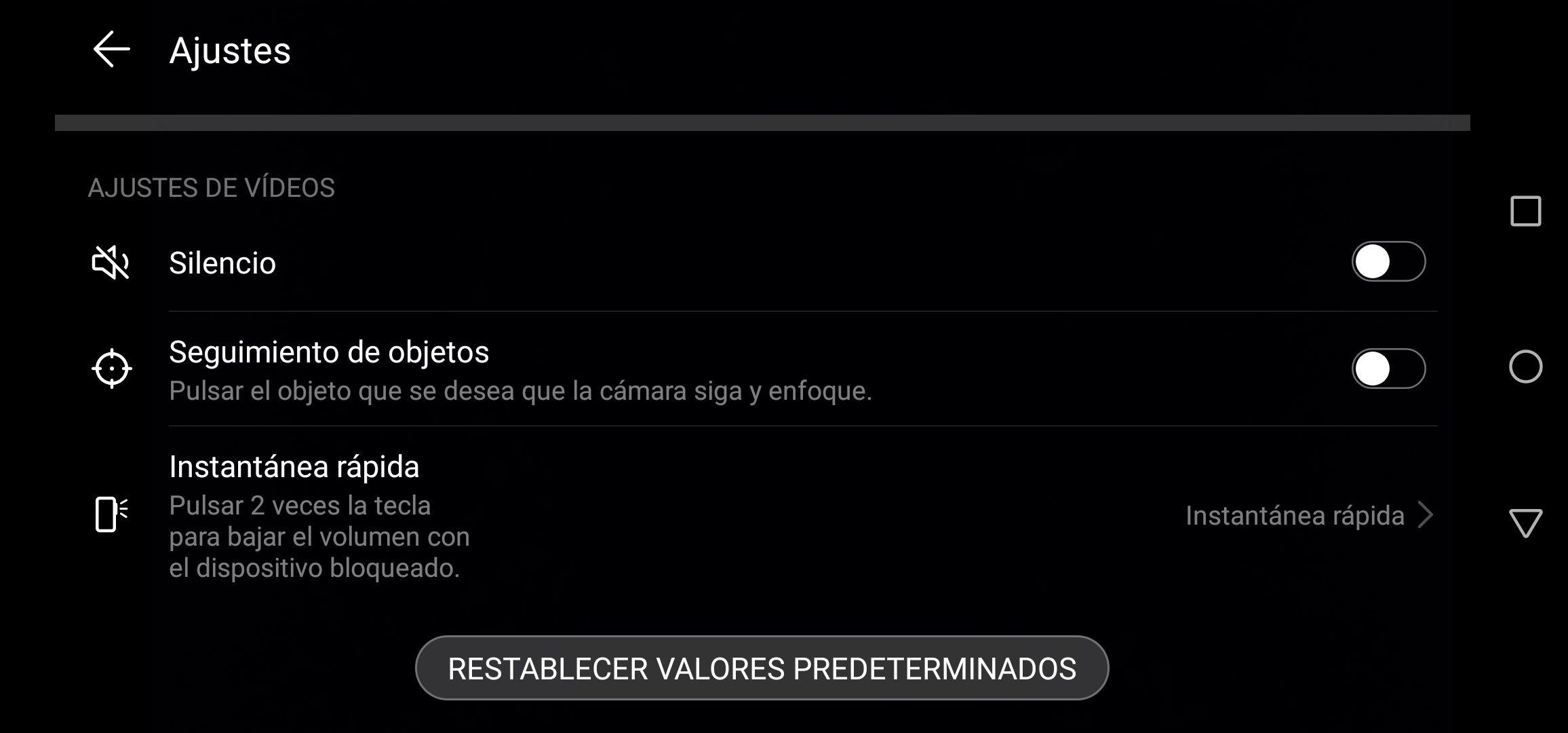 Opciones al grabar vídeo en el Huawei P30 Lite