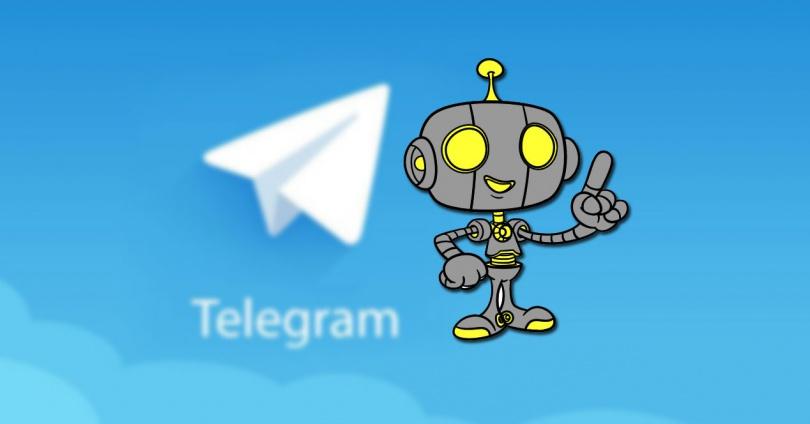 Logotipo de Telegram con fondo azul y robot