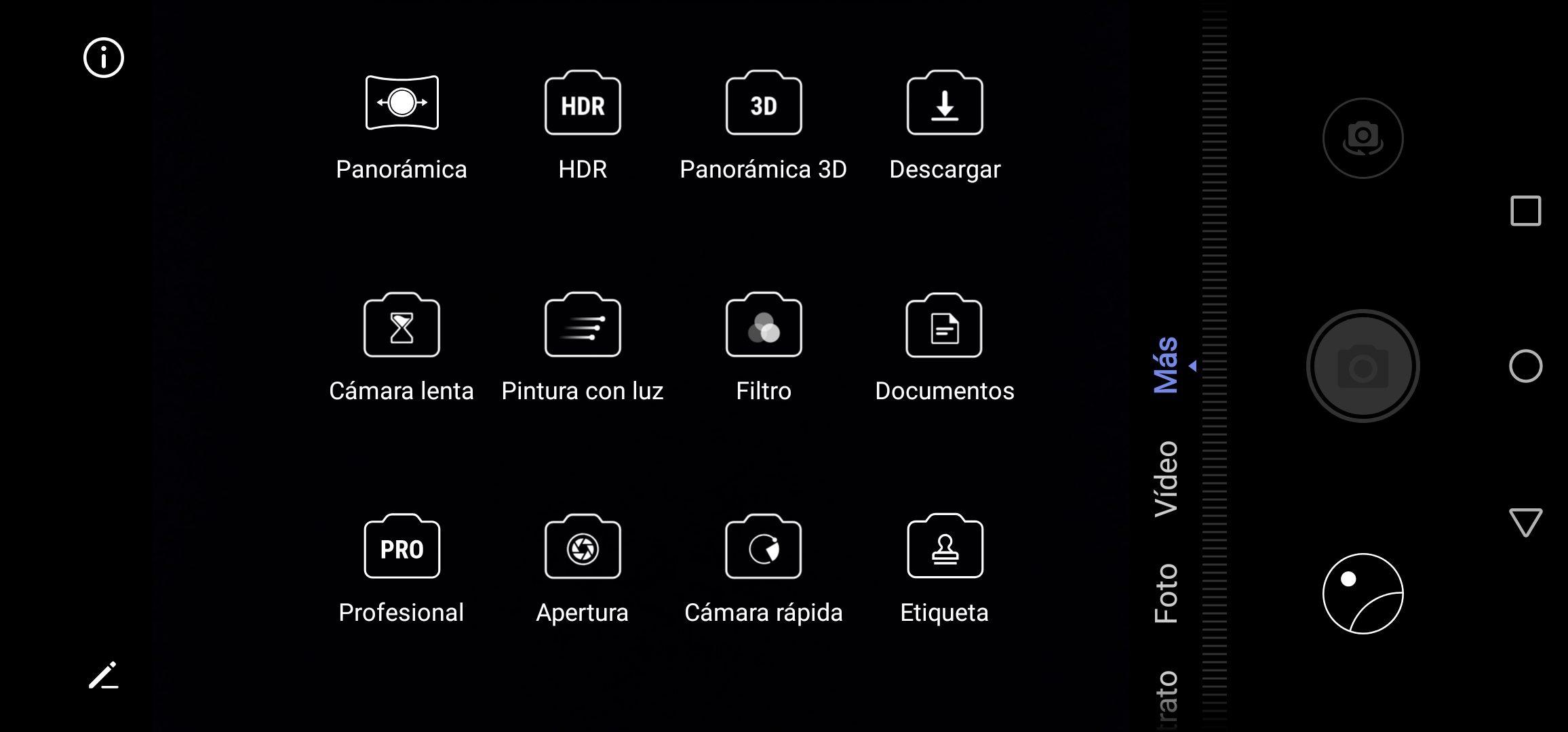 Más opciones de la aplicación cámara del Huawei P30 Lite