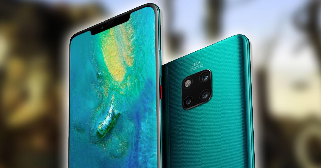 Huawei Mate 20 pro verde y fondo Dalí