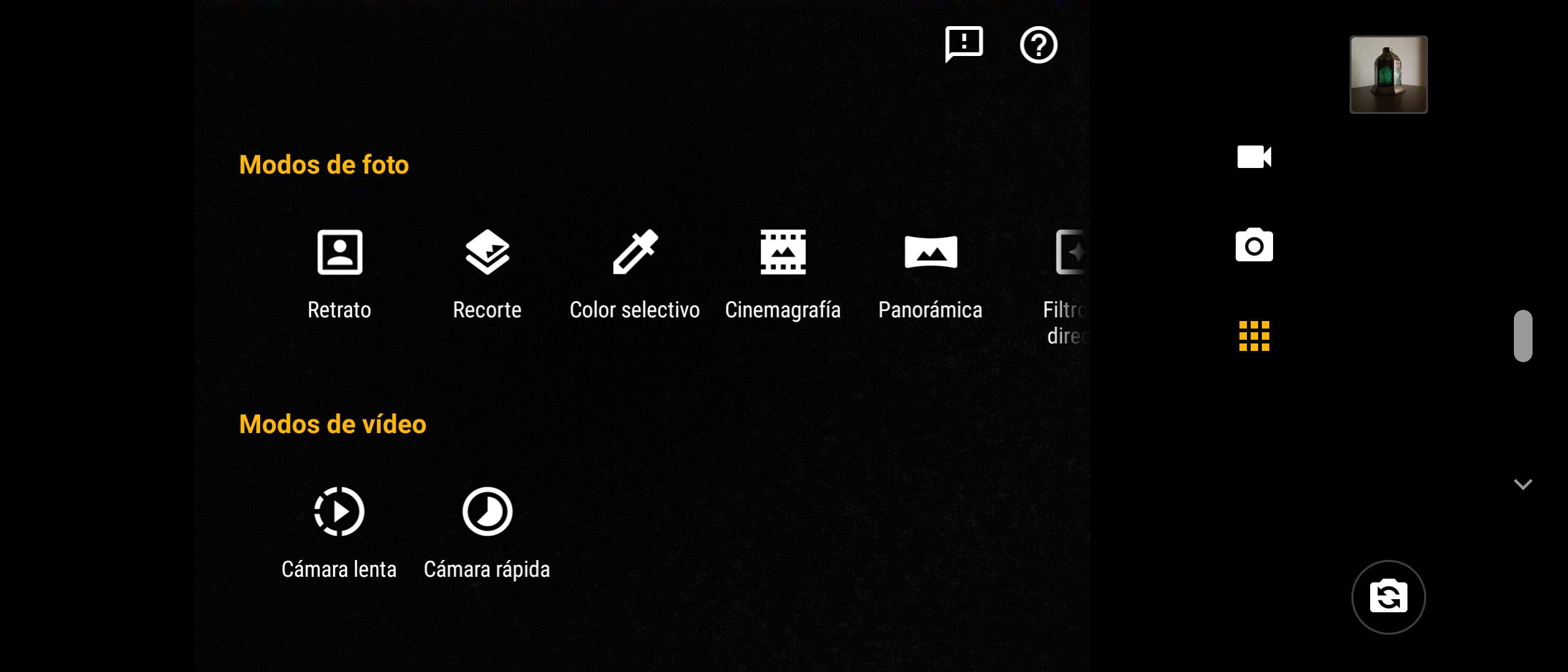 Opciones app cámara Motorola One Action