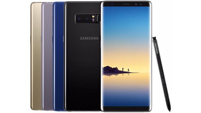Frontal y trasera del Samsung Galaxy Note 9 en varios colores junto al S-Pen