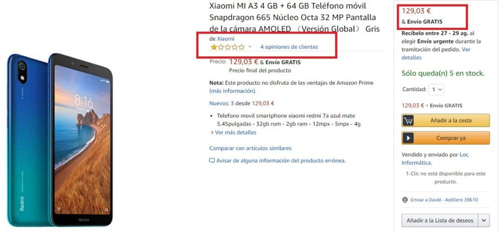 Mi A3 timo Amazon