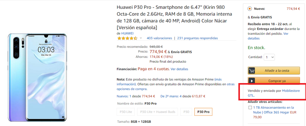 Huawei P30 Pro vendido por terceros en Amazon
