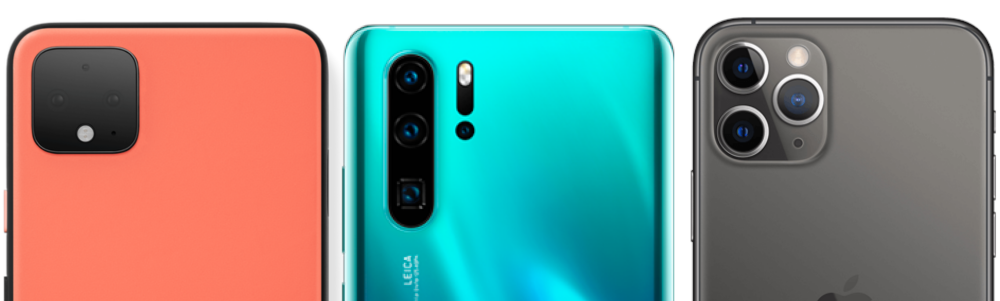 Pixel 4 XL, Huawei P30 Pro y iPhone 11 Pro camaras