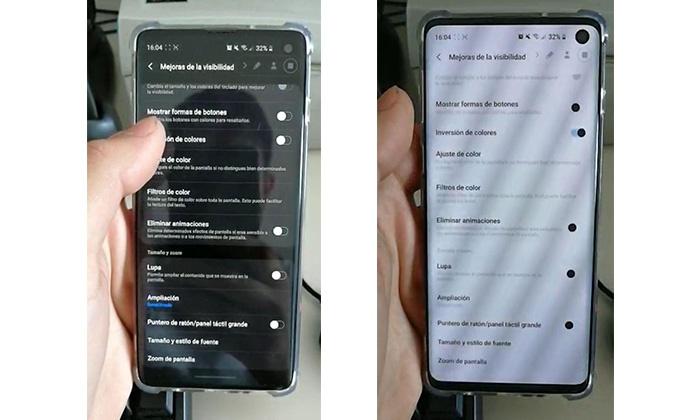 Invertir colores Samsung 2