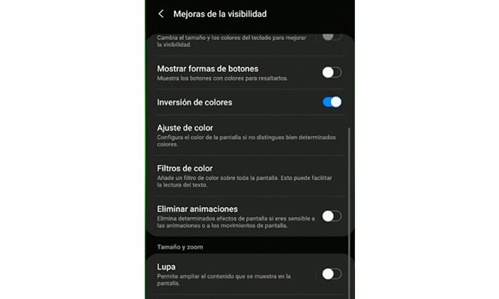 Invertir colores Samsung