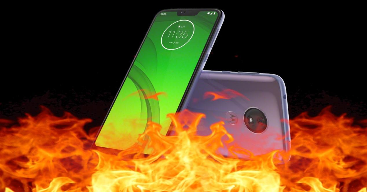 Moto G7 Power en llamas