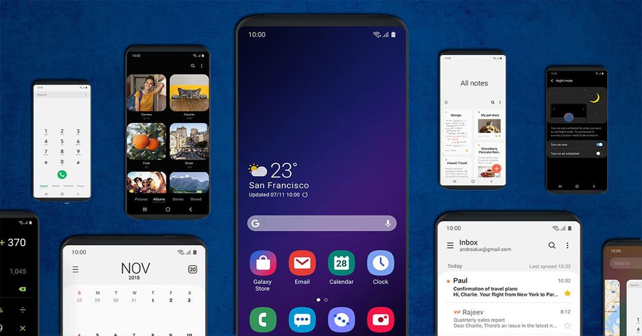 Distintas pantallas de la nueva capa One UI de Samsung